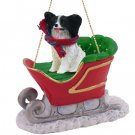 Papillon, Black & White Sleigh Ride Ornament