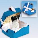 Papillon, Black & White Blue Gift Box Ornament