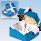 Fox Terrier, Brown & White Blue Gift Box Ornament