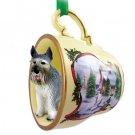Schnauzer, Giant, Gray Snowman Holiday Tea Cup Ornament