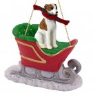 Whippet, Brindle & White Sleigh Ride Ornament