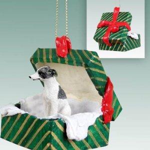 Whippet, Gray & White Green Gift Box Ornament