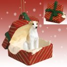 Whippet, Tan & White Red Gift Box Ornament