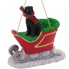 Great Dane, Black, Uncropped Sleigh Ride Ornament