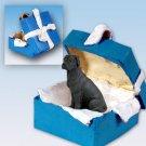 Great Dane, Black, Uncropped Blue Gift Box Ornament