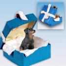 Doberman, Black, Uncropped Blue Gift Box Ornament