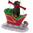 Doberman, Red, Uncropped Sleigh Ride Ornament