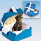 Doberman, Red, Uncropped Blue Gift Box Ornament
