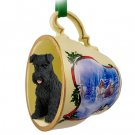 Schnauzer, Black, Uncropped Sleigh Ride Holiday Tea Cup Ornament
