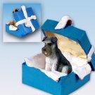 Schnauzer, Gray, Uncropped Blue Gift Box Ornament