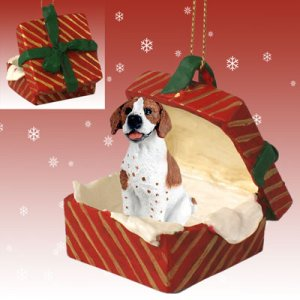 Pointer, Brown & White Red Gift Box Ornament