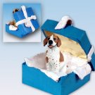 Pointer, Brown & White Blue Gift Box Ornament