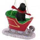English Cocker Spaniel, Black Sleigh Ride Ornament
