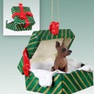 Min Pin, Red & Brown Green Gift Box Ornament