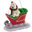 Poodle, White Sleigh Ride Ornament
