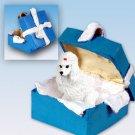 Poodle, White Blue Gift Box Ornament