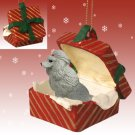 Poodle, Gray Red Gift Box Ornament