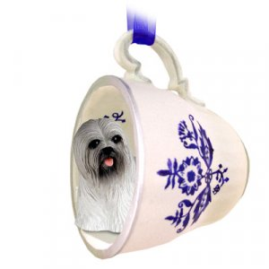 Lhasa Apso, Gray Blue Tea Cup Ornament