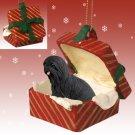 Lhasa Apso, Black Red Gift Box Ornament