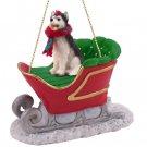 Husky, Black & White, Blue Eyes Sleigh Ride Ornament