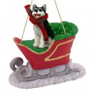 Husky, Black & White, Brown Eyes Sleigh Ride Ornament