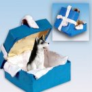Husky, Black & White, Brown Eyes Blue Gift Box Ornament