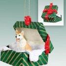 Husky, Red & White, Blue Eyes Green Gift Box Ornament