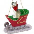 Husky, Gray & White, Brown Eyes Sleigh Ride Ornament