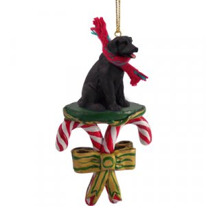 Labrador Retriever, Black Candy Cane Ornament