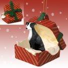 Greyhound, Black & White Red Gift Box Ornament