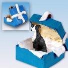 Greyhound, Black & White Blue Gift Box Ornament