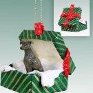 Greyhound, Brindle Green Gift Box Ornament