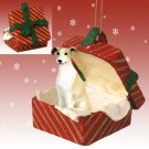 Greyhound, Tan & White Red Gift Box Ornament