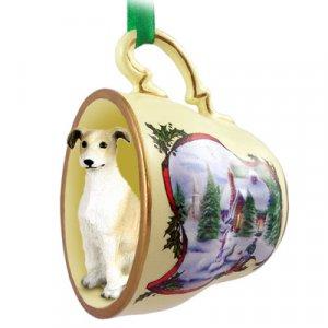 Greyhound, Tan & White Snowman Holiday Tea Cup Ornament