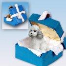 Poodle, Gray, Sport cut Blue Gift Box Ornament