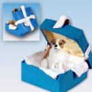 Jack Russell Terrier, Brown & White, Smooth Coat Blue Gift Box Ornament