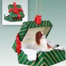Japanese Chin, Brown & White Green Gift Box Ornament