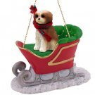 Shih Tzu, Tan, Sport cut Sleigh Ride Ornament