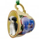 Shih Tzu, Black & White, Sport cut Sleigh Ride Holiday Tea Cup Ornament