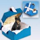 Doberman, Black Blue Gift Box Ornament