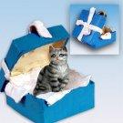Shorthair Silver Tabby Blue Gift Box Ornament