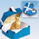 Shorthair Red Tabby Blue Gift Box Ornament