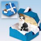 Manx Black & White Blue Gift Box Ornament