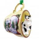 Shorthair Black & White Tabby Snowman Holiday Tea Cup Ornament
