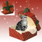 Shorthair Silver Tabby Red Gift Box Ornament