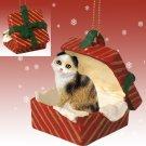 Scottish Fold Tortoise & White Red Gift Box Ornament