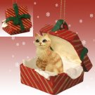Manx Red Tabby Red Gift Box Ornament