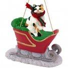 Shorthair Calico Sleigh Ride Ornament