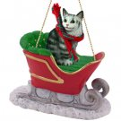 Maine Coon Silver Tabby Sleigh Ride Ornament