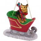 Maine Coon Brown Tabby Sleigh Ride Ornament